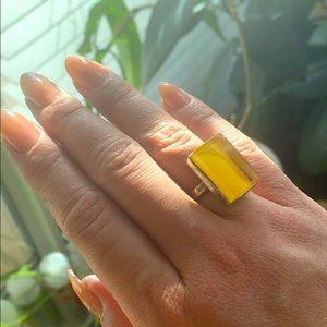 Yellow Rectangle Gemstone Ring